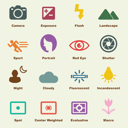 camera: photography elements, vector infographic icons