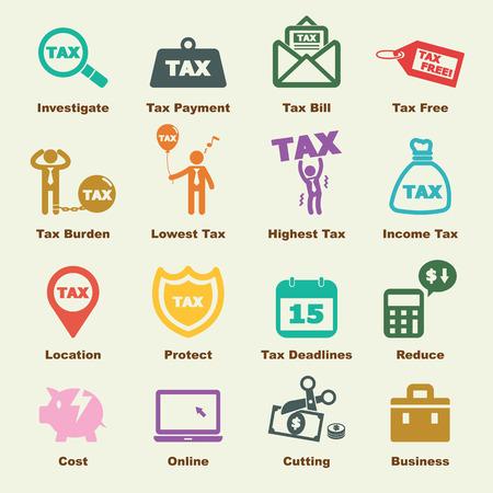 impuestos: elementos tributarios, iconos vectoriales infográficas Vectores