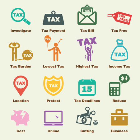 tax elements, vector infographic icons Stock Illustratie