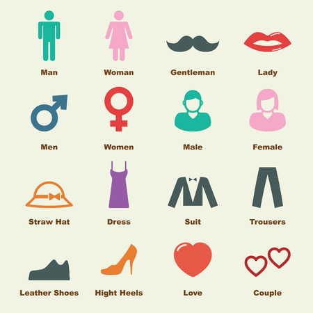 man and woman sex: man and woman elements, vector infographic icons
