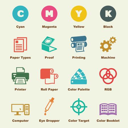 imprenta: elementos de impresi�n, los iconos del vector infogr�ficas