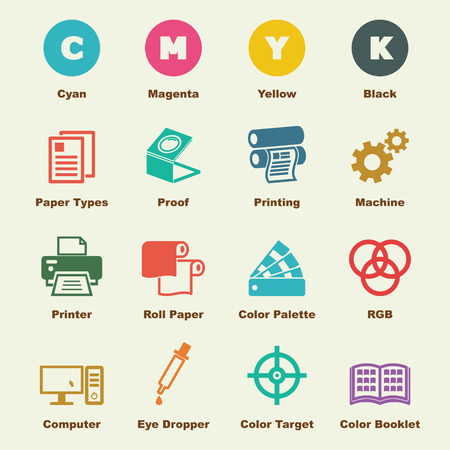 print shop: printing elements, vector infographic icons Illustration