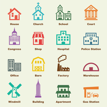 building elements, vector infographic icons Stock Illustratie