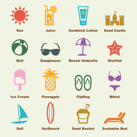 beach elements, vector infographic icons