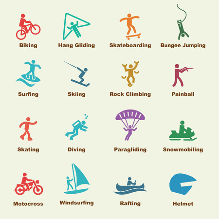 skateboard: extreme elements, vector infographic icons