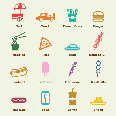 street vendor: Street food elements, vector infographic icons