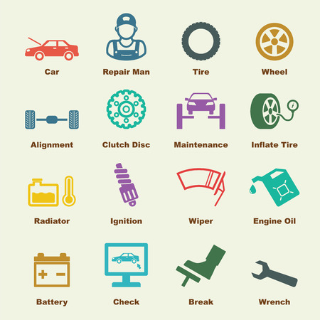 car service elements, vector infographic icons