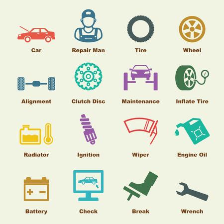 Elementy obsługi samochodów, ikony Wektor infographic