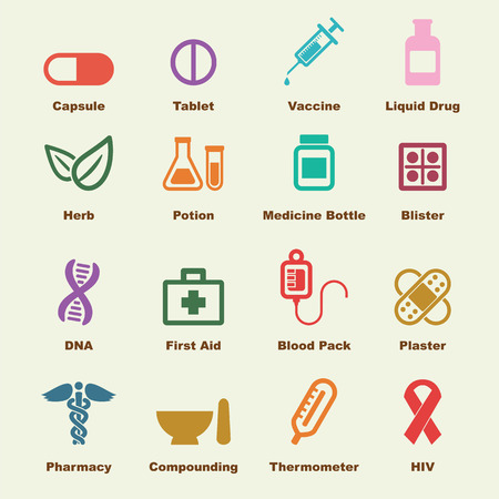 medical box: medicine elements, vector infographic icons