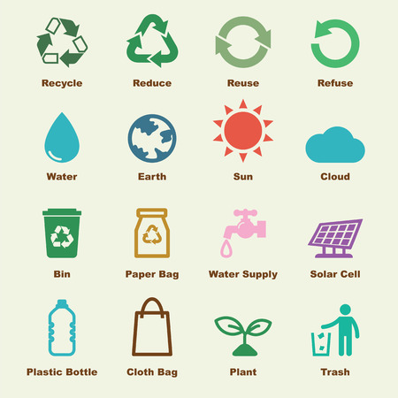 recycle reduce reuse: reciclar los elementos, iconos vectoriales infográficas