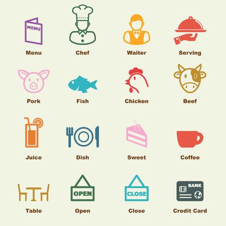 restaurant icons: restaurant elements, vector infographic icons