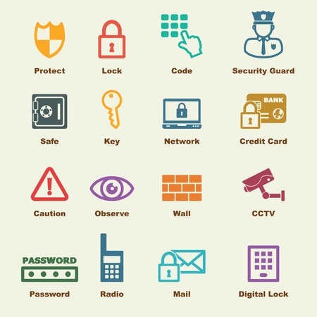 security elements, vector infographic icons
