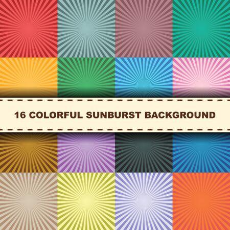 rays: colorful sunburst background, vector illustration
