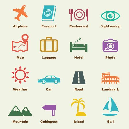 sleeping car: trip elements, vector infographic icons