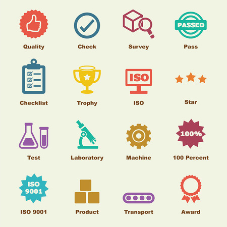 quality control elements, vector infographic icons Stock Illustratie