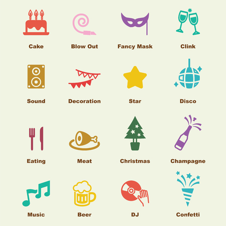 clink: party elements, vector infographic icons