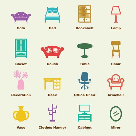 家具の要素のベクター インフォ グラフィック アイコン  イラスト・ベクター素材
