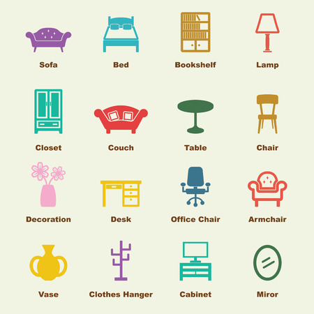 furniture elements, vector infographic icons