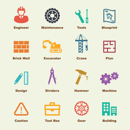 construction icon: engineering elements