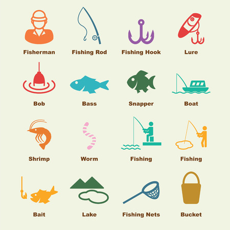 fishing elements, vector infographic icons