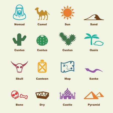 desierto: elementos del desierto Vectores
