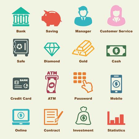 iconos: elementos de banca Vectores
