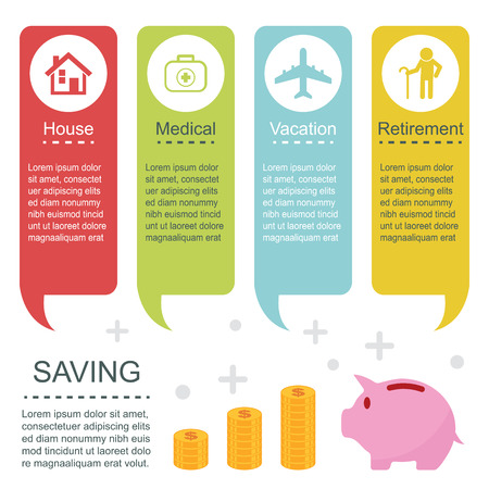 saving: saving infographic template Illustration