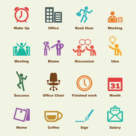 routine: office life elements, vector infographic icons