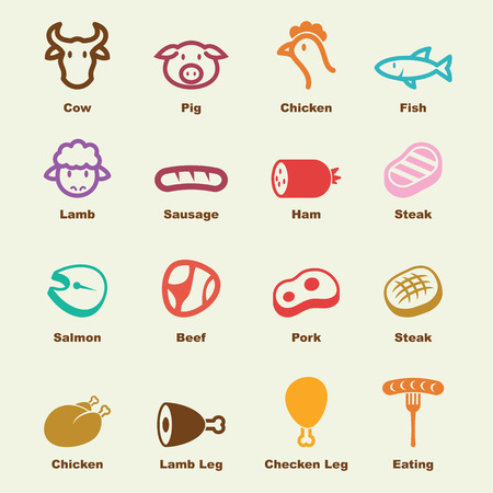 cerdos: elementos de carne, iconos del vector infogr�ficas