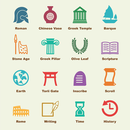 history architecture: history elements, vector infographic icons Illustration