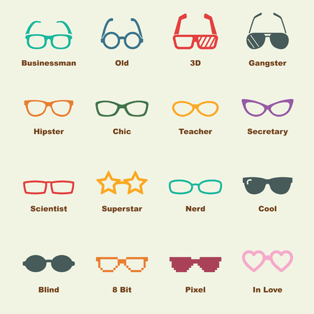 eye wear: glasses elements, vector infographic icons