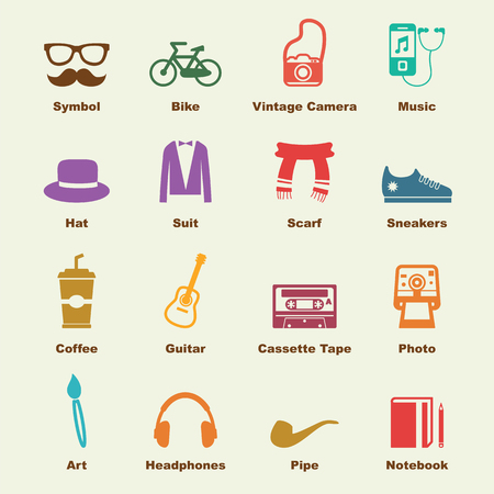 indy: hipster elements, vector infographic icons Illustration