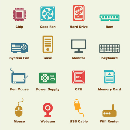 computer icons: computer part elements, vector infographic icons Illustration