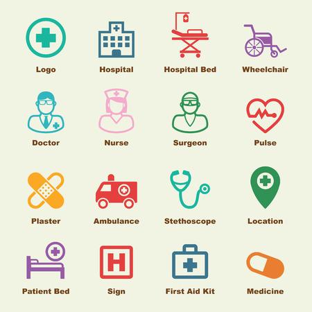hospitales: elementos hospitalarios, iconos vectoriales infográficas