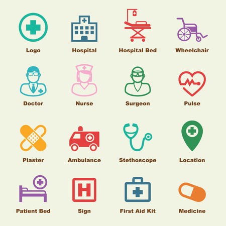 aid: hospital elements, vector infographic icons
