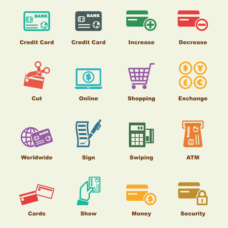 payment icon: credit card elements, vector infographic icons