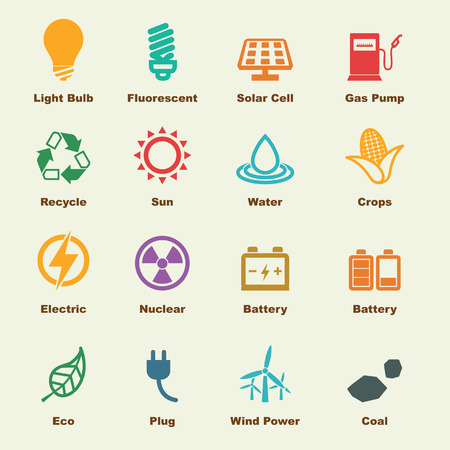 ecology icons: energy elements, vector infographic icons