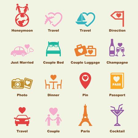 pareja en la cama: elementos de luna de miel, iconos vectoriales infográficas Vectores