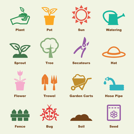gardening elements, vector infographic icons Illustration