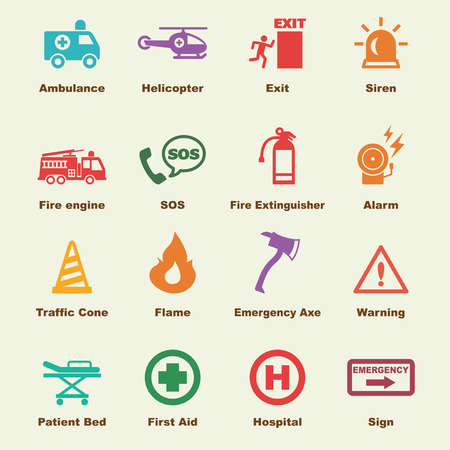 emergency light: emergency elements, vector infographic icons
