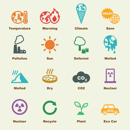 hot temperature: global warming elements, vector infographic icons