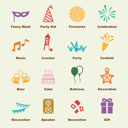 entertainment event: celebration elements, vector infographic icons Illustration