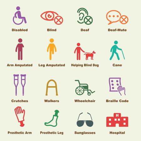장애인 요소, 벡터 인포 그래픽 아이콘