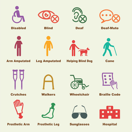 discapacidad: elementos de movilidad reducida, iconos vectoriales infogr�ficas Vectores