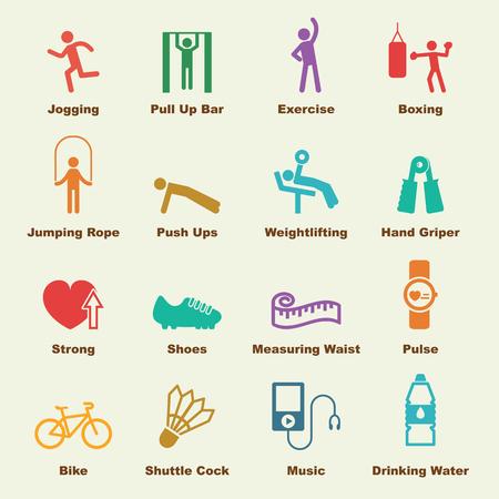 cinta metrica: Elementos de ejercicio, los iconos del vector de infografía