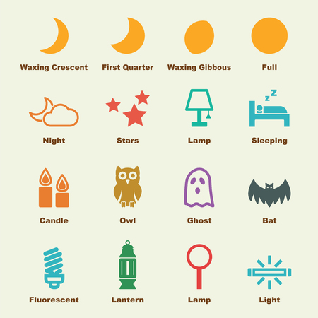 phases: night elements, vector infographic icons