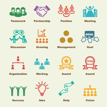 recursos humanos: elementos de trabajo en equipo, iconos vectoriales infográficas