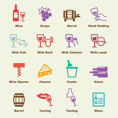 wine elements, vector infographic icons Illustration