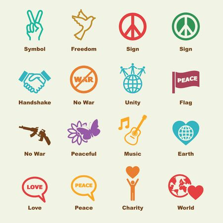 world war 2: peace elements, vector infographic icons