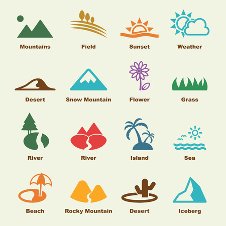 set design: landscape elements, vector infographic icons